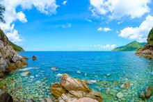 Ao Hin Ngam Bay Rock Beach, Clear Water Beach, Blue Sky On Summer , Baan Chaloklum ,koh Pha Ngan ,Suratthani ,south Of Thailand