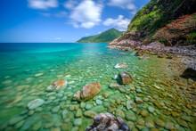 Long Exposure Picture ,at Ao Hin Ngam Bay Rock Beach, Clear Water Beach, Blue Sky On Summer , Baan Chaloklum ,koh Pha Ngan ,Suratthani ,south Of Thailand