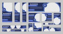 Business Banner Design Web Template Set, Horizontal Header Web Banner. Modern Blue Cover Header Background For Website Design, Social Media Cover Ads Banner, Flyer, Invitation Card