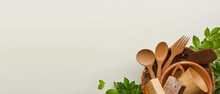 Zero Waste Concept, Mock Up Scene With Wooden Kitchenware And Copy Space On White Background