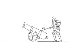 Single One Line Drawing Of Young Smart Business Woman Fire On Cannon Ball Weapon. Business Sales Growth Metaphor Minimal Concept. Modern Continuous Line Draw Design Graphic Vector Illustration