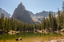 USA, Colorado, Indian Peaks Wilderness. Lone Eagle Peak And Mirror Lake.