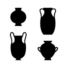 Greek Vases Black Silhouettes In A Simple Style. Vector Illustrations Of Various Clay Vessels For Creating Patterns, Prints, Posters, Collages, Logos