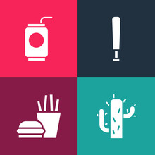 Set Pop Art Cactus, Burger And French Fries, Baseball Bat And Soda Can With Straw Icon. Vector.