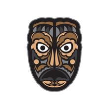 Maori Or Samoan Style Mask. Isolated. Vector Illustration
