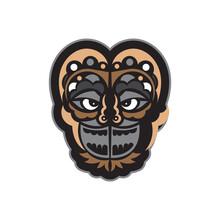 Maori Or Samoan Style Mask. Isolated. Vector