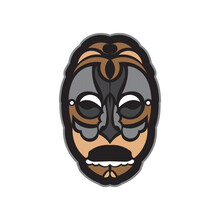 Maori Or Samoan Style Mask. Polynesian Style Tiki. Isolated. Vector Illustration