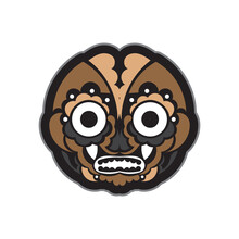 Maori Or Samoan Style Mask. Polynesian Style Tiki. Isolated. Vector