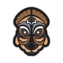 Samoan Style Mask. Polynesian Style Tiki. Isolated. Vector Illustration