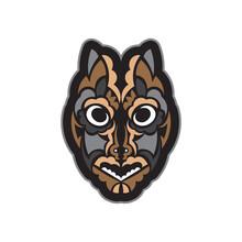 Maori Or Samoan Style Mask. Polynesian Style Tiki. Good For A Tattoo. Isolated. Vector Illustration