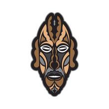Maori Or Samoan Style Mask. Polynesian Style Tiki. Good For A Tattoo. Isolated. Vector