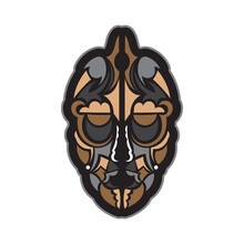 Colored Mask In Maori Or Samoan Style. Polynesian Style Tiki. Good For Prints. Isolated. Vector Illustration