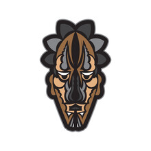 Colored Mask In Maori Or Samoan Style. Polynesian Style Tiki. Good For Prints. Isolated. Vector