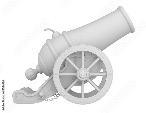 Foto Clay render of ancient circus cannon on white background - 3D illustration