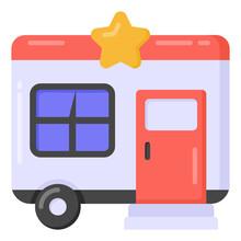 A Vanity Van Transport, Flat Icon Design
