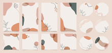 Stationary Story Templates And Highlights Covers Vector Set. Social Media Background Design With Floral And Hand Drawn Organic Shapes Textures. Abstract Minimal Trendy Style Wallpaper.