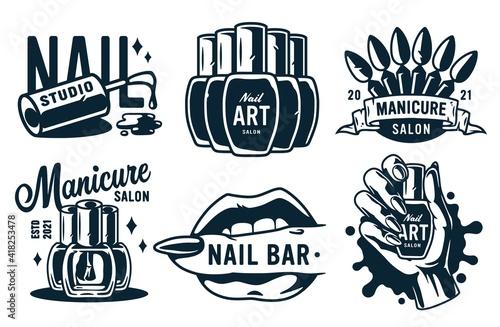 Fotografie, Tablou Set of manicure prints for nail bar and beauty salon