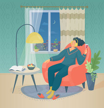 In The Evening Woman With A Glass Of Red Wine Sits In An Armchair In The Living Room Next To The Window And Listens To Music On Headphones. Vector Colorful Illustration With Texture.