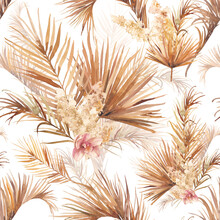 Palm Tree Leaves Texture With Orchid. Seamless Pattern With Floral Watercolor Illustrations. Exotic Floral Decorations On White Background.