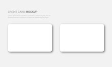 Mockup Of Plastic Or Paper White Business Cards, On An Isolated Background. Vector Blank Template With Rounded Corners For Your Design. Stock Illustration EPS 10
