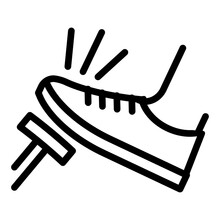 Ngi1130 NewGraphicIcon Ngi - German Symbol - Auf Die Bremse Treten . Hier Stoppen - English - Push . Step On The Brakes Icon . Stop Here - Foot Pushing The Brake Pedal - Square Xxl G10331