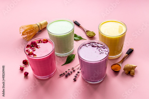Stampa su Tela Green, yellow and pink latte