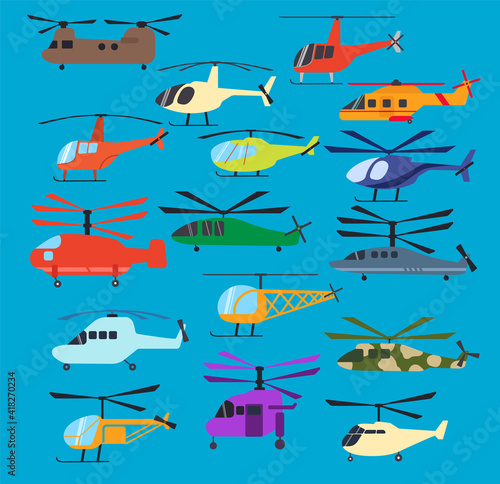 Cuadros en Lienzo Different helicopters icons set, vector illustration