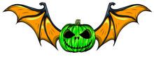 Green Halloween Pumpkin With Bat Wings Vector Illustration