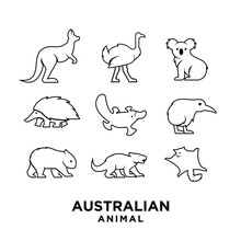 Collection Outline Australian Black Animal Silhouette Logo Icon Design
