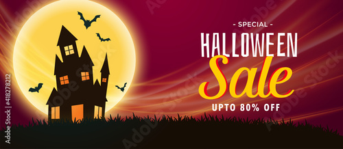 spooky halloween sale banner with haunted house and flying bats Fototapet