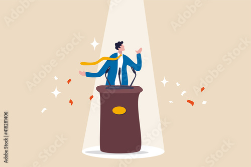 Public speaking skill, confident, charisma, hand gesture, voice and expression to win the audience concept, confidence businessman speaking in public on stage with podium, microphones, spotlight on Fototapet