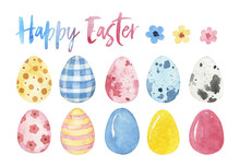 Easter Watercolor Clipart, Easter Eggs, Watercolor Easter Wreath, Spring Clipart