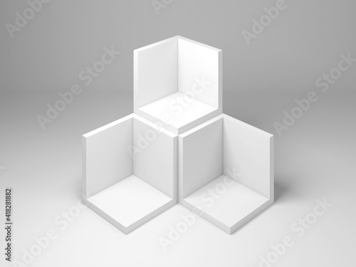 Empty boxes, package mock up. 3d rendering © evannovostro