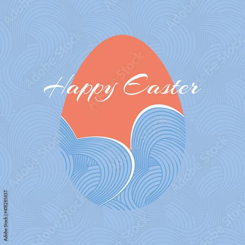 Fototapeta Orange Vector Easter Egg silhouette on blue geometric flower background. Decorative Happy Easter greeting card illustration. obraz
