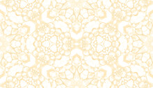 Yellow Seamless Pattern. Attractive Delicate Soap Bubbles. Lace Hand Drawn Textile Ornament. Kaleido