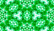 Green Seamless Pattern. Astonishing Delicate Soap Bubbles. Lace Hand Drawn Textile Ornament. Kaleido