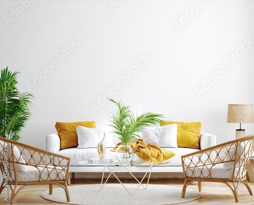 Fotografia Mockup frame, wall in interior background, Coastal style, 3d render