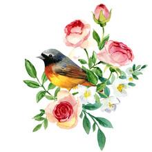 Blossom Garden Flowers And Birds. Floral Banner Prety Design