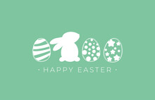 Happy Easter Greeting Card With Easter Eggs And Easter Rabbit. Minimalist Vector Design With Happy Easter Text