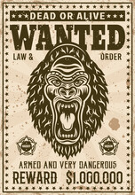 Gorilla Head With Angry Grin Wanted Poster In Vintage Style Vector Illustration