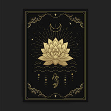 Lotus Flowers Blooming On The Water Decorated With The Moon And Fish, Card Illustration With Esoteric, Boho, Spiritual, Geometric, Astrology, Magic Themes, For Tarot Reader Card Or Posters