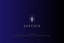 Sword Blade With Scale Justice Law Logo Design Vector