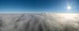 Fototapeta Na sufit - elektrownia Rybnik, kominy nad mgłą z lotu ptaka