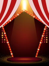 Background With Red Curtain And Arch Banner. Design For Presentation, Concert, Show