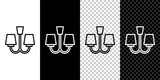 Set line Chandelier icon isolated on black and white,transparent background. Vector.