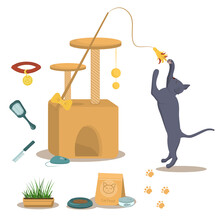 Vector Illustration On The Theme Of Domestic Cats. A British Grey Cat In A Jump Along With A Cat House, Food And Toys For The Cats That Live In The House.