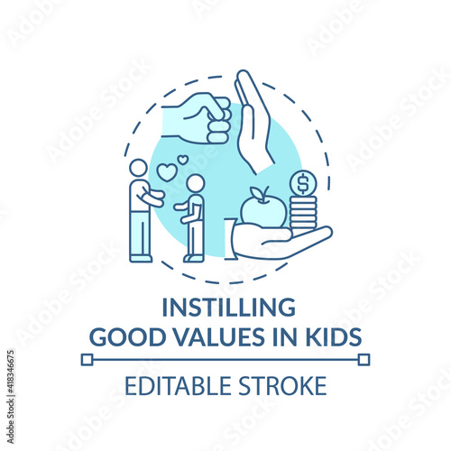 Instilling good values in kids turquoise concept icon Poster Mural XXL