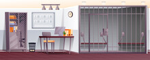 Police Station Interior Background. Security Department Office With Jail Cell Vector Illustration. Room With Desk, Computer, Chair, Binders, Cupboard With Gun. Horizontal Panorama