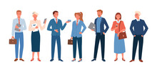 Business People, Employee In Office Outfit Set, Happy Community Standing Together