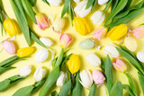 Fototapeta Tulipany - Easter scene with colored eggs